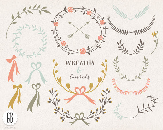 Wreath clipart ribbon Ribbons flowers wreaths Floral ribbons