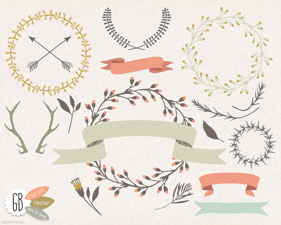 Wreath clipart ribbon Clip $5 laurels 50 ribbons