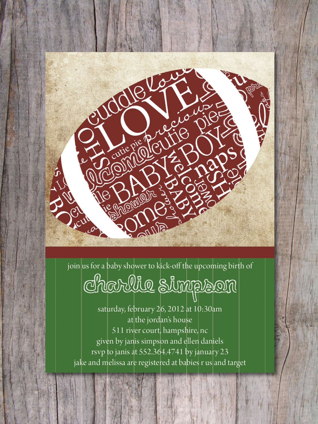 Football clipart baby shower Maybe Football which Invitations 15