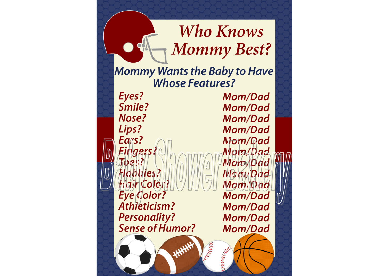 Football clipart baby shower Shower Printable  Sports Shower