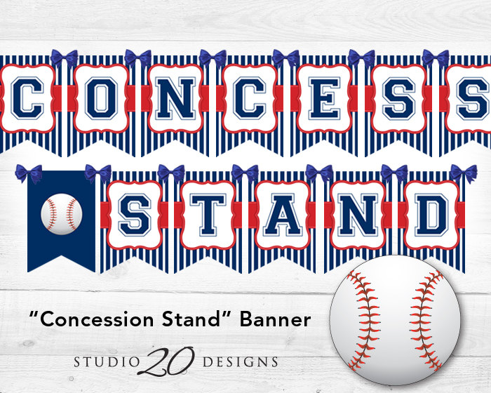 Football clipart concession stand Baseball Banner Birthday concessions Etsy