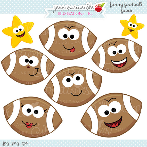 Football clipart cute JWIllustrations  Studio Football Etsy