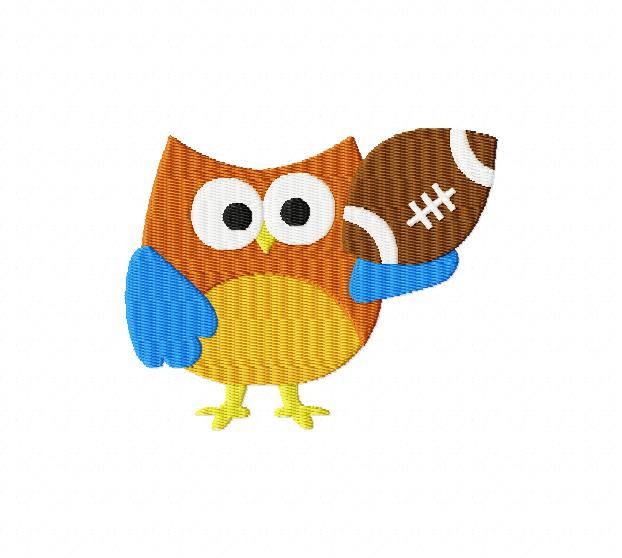 Football clipart owls Football Owl 4X4: Breezy Embroidery