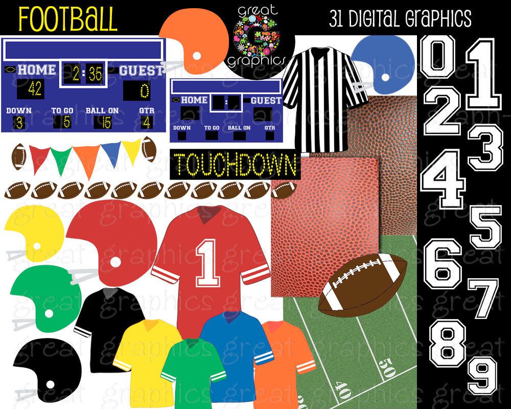 Football clipart printable Football Paper Instant Art Football