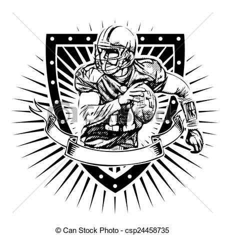 Football clipart shield Of  american football Vector