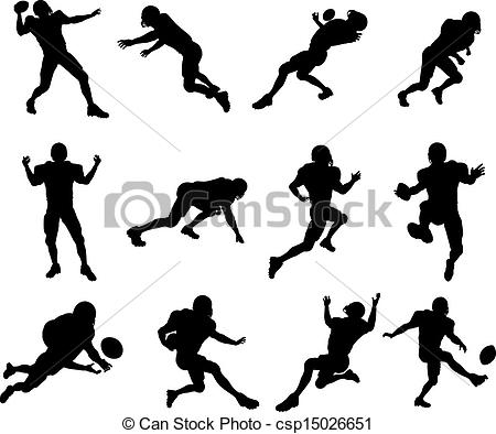 Football clipart stance Of silhouette  player set