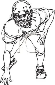 Football clipart stance Football Black Starting Player Clipart