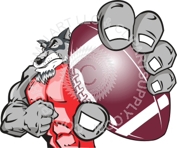 Football clipart wolf Wolf football holding football holding