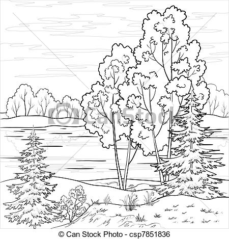 River clipart line drawing #2