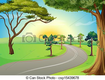 Forest clipart forest road Vectors Illustration road csp15439678 the