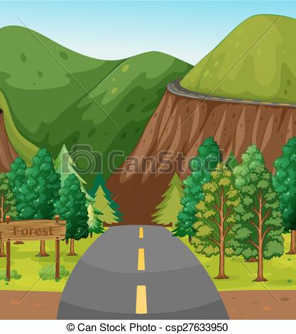 Forest clipart forest road And mountain forest Road Vector