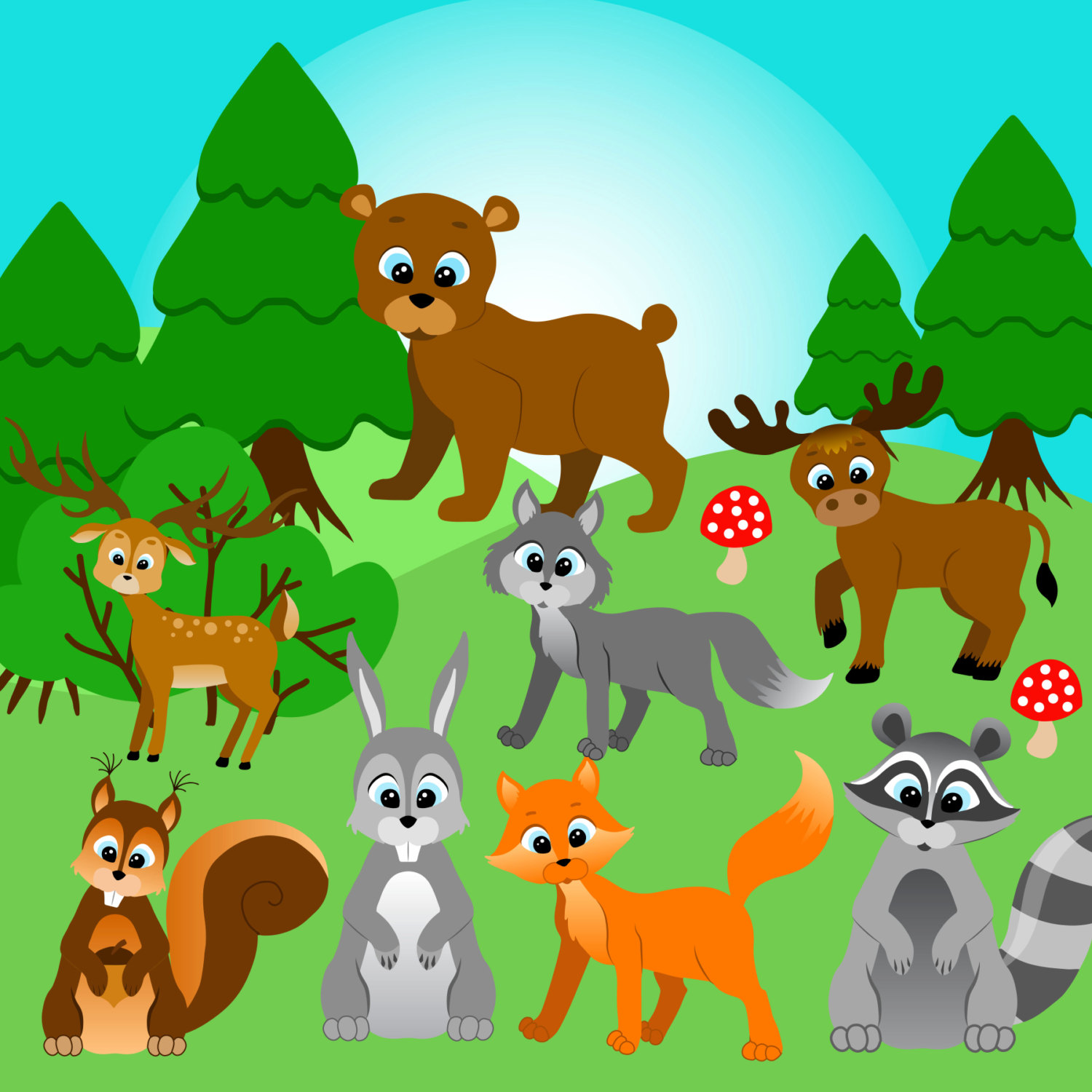 Wood clipart forrest Forest Wood Woodland foxes clipart