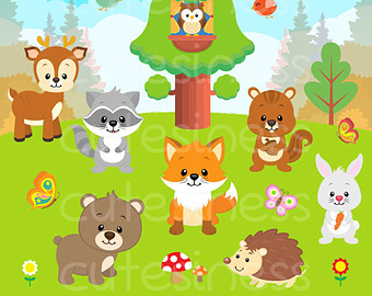 Wildlife clipart grass Woodland Clipart Forest Baby Clipart