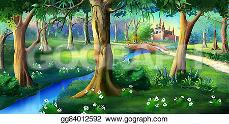 Castle clipart scenery Near painting fairytale idyllic Digital
