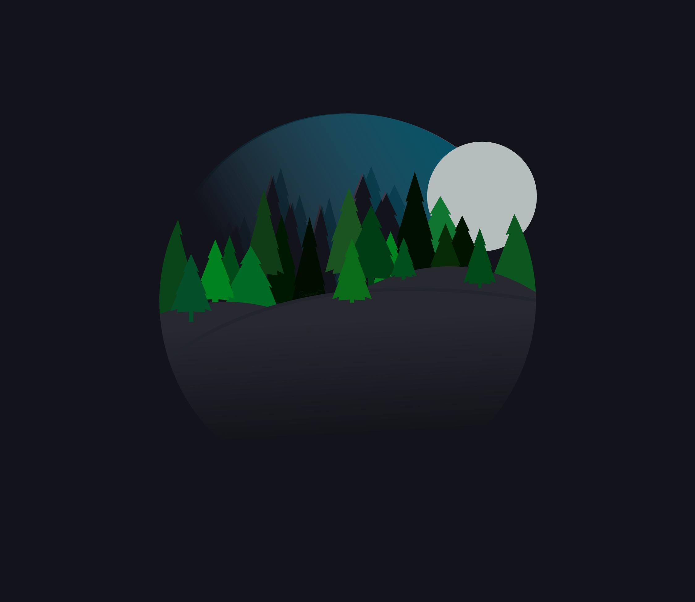 Changing To Night  clipart night forest A Nighttime Round Forest Trees
