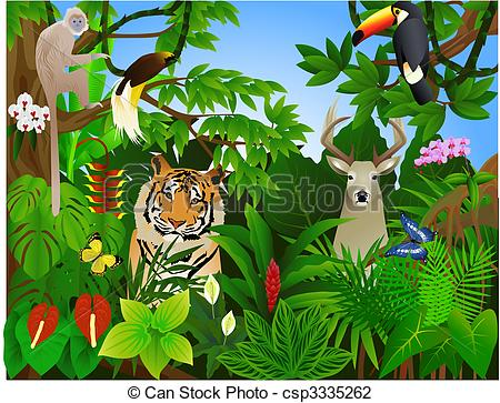 Forest clipart plants and animal In jungle Search Illustration csp3335262