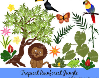 Forest clipart plants and animal Lion Jungle Tropical Art Tropical