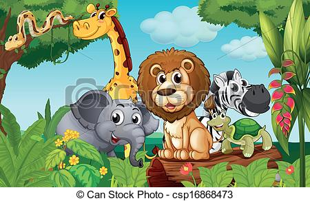Forest clipart plants and animal Illustration a with animals group