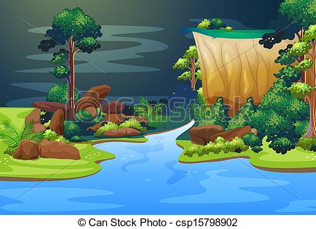 Forest clipart river drawing #11