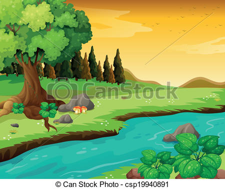 Forest clipart river drawing #7