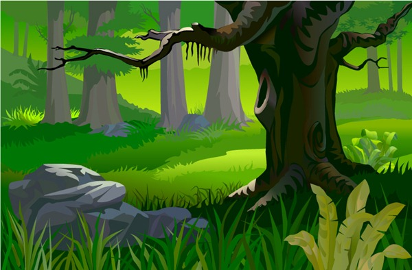 Wood clipart jungle scenery Forest forest scenery vector Primeval