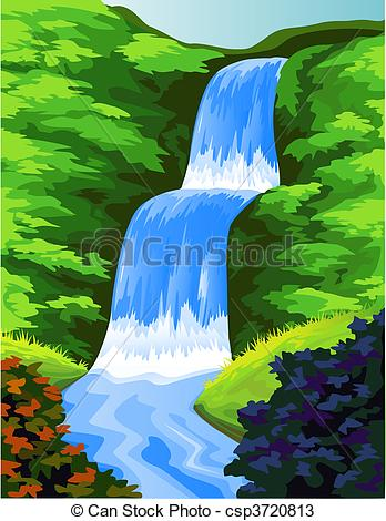 Forest clipart water stream  water beautiful fall vector