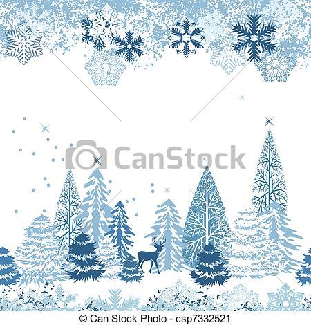Winter clipart boarder Csp7332521 Clip of Beautiful winter