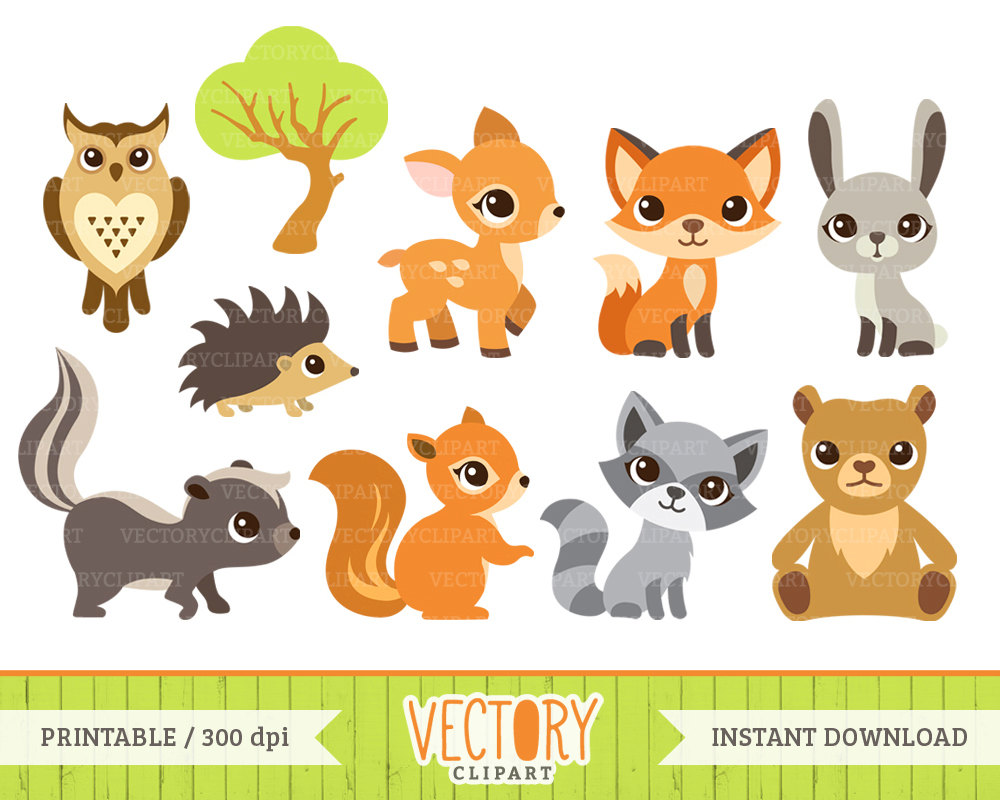 Baby Animal clipart woodland Woodland Art Clip & Rabbit