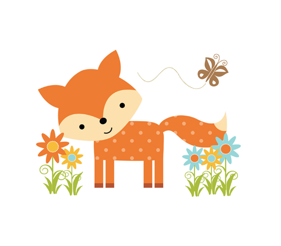 Baby Animal clipart woodland fox Mural [669 Friends Forest Fox