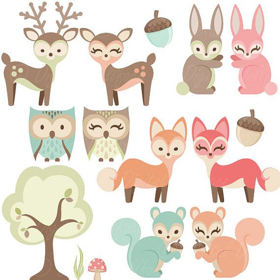 Wood clipart woodlands Shower animals Clipart Woodland Art