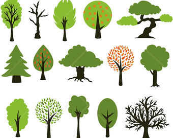 Tree clipart forest tree Wood Clipart Digital tree Forest