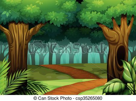 Wood clipart jungle scene Woods in csp35265080 the Forest