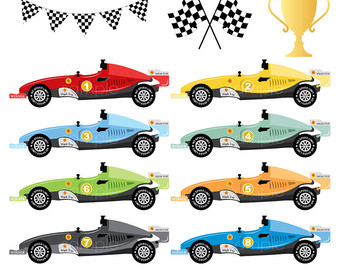 Formula One clipart rally Digital Formula scrapbooking party Racing