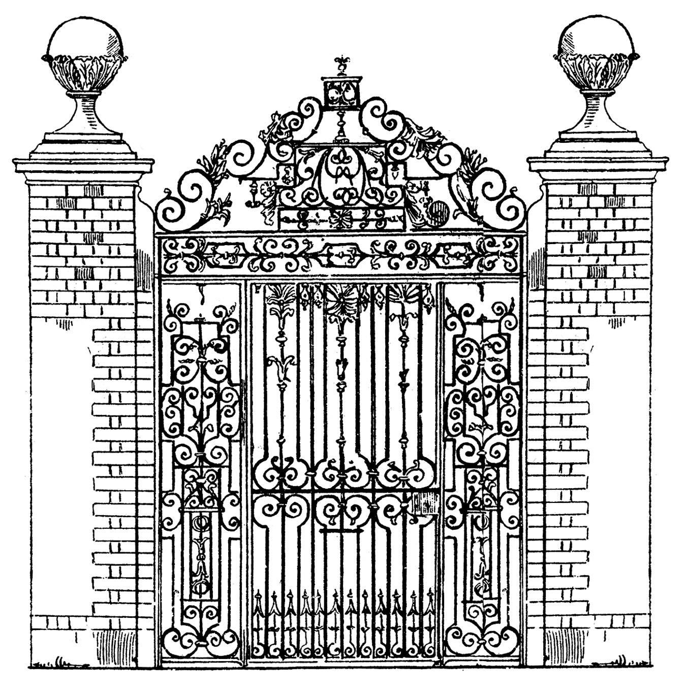 Mansion clipart castle gate Vintage gate Castle clipart *The