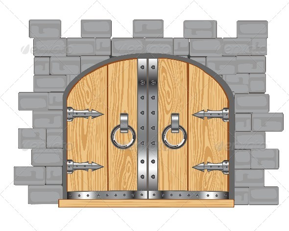 Open Door clipart old door Open Wooden Cartoon In Fortress