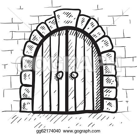 Fortress clipart castle door Vector Doodle sketch EPS format