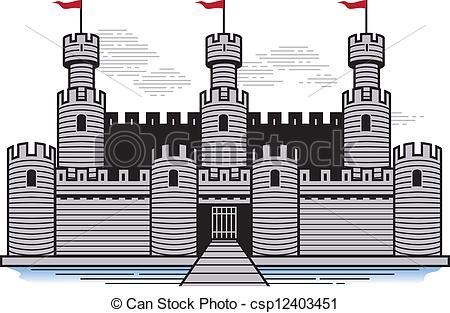 Fortress clipart castle drawbridge Vector stylized Battlements A