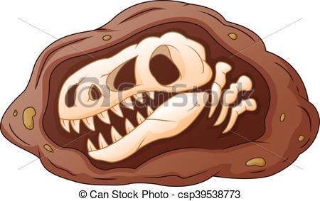 Fossil clipart  Fossil head dinosaur Vector