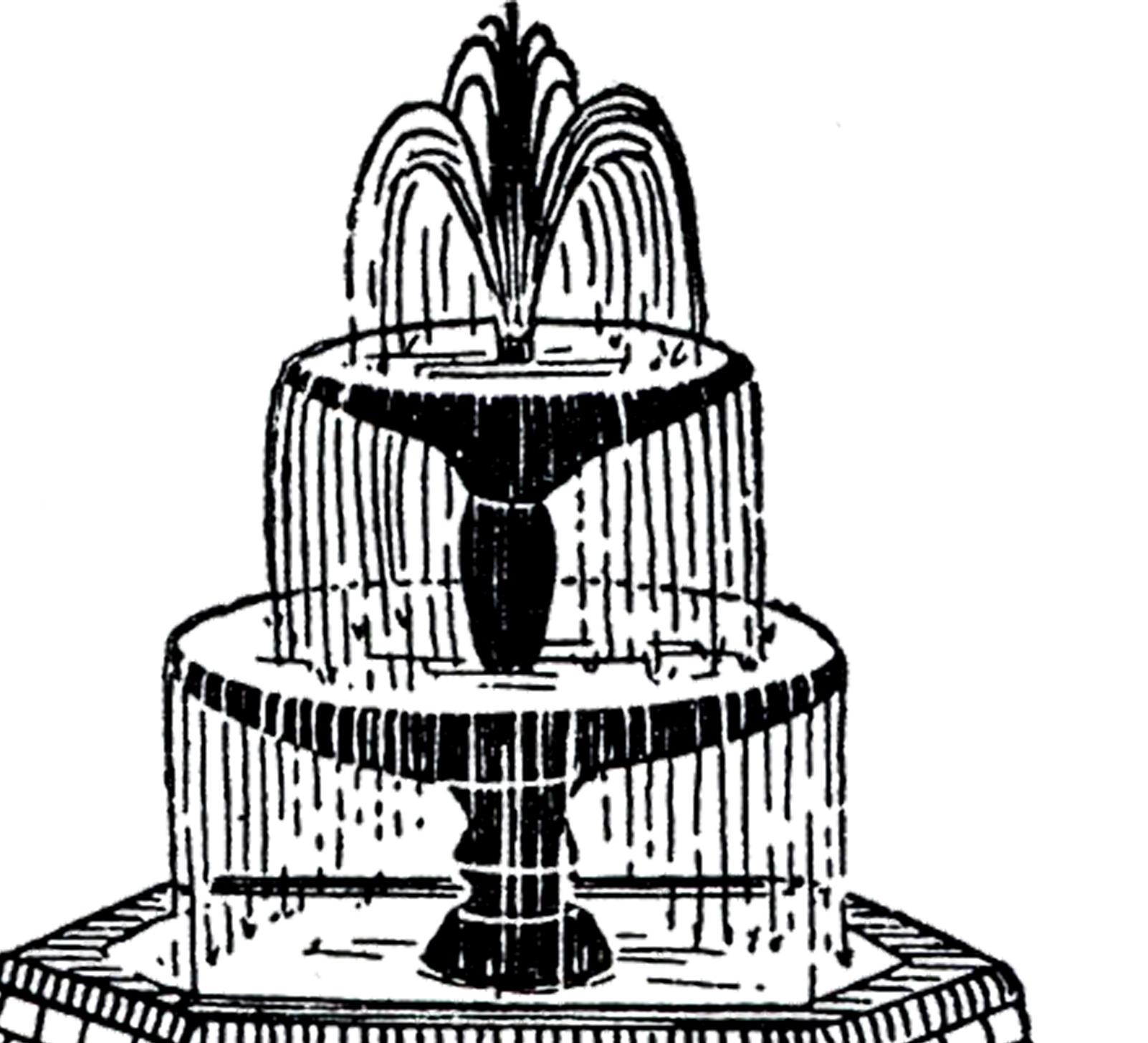 Fountain clipart Fountain Vintage Graphics Art!