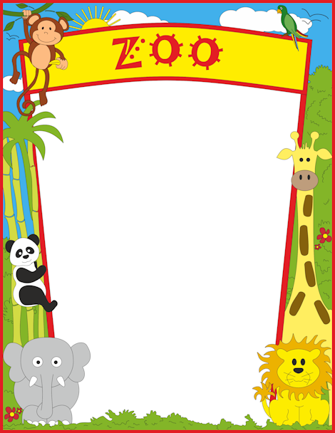 Zoo clipart border (SB9543) A4 Page and Border