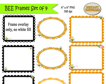 Bee clipart frame Digital Frames Bee Clipart Bee