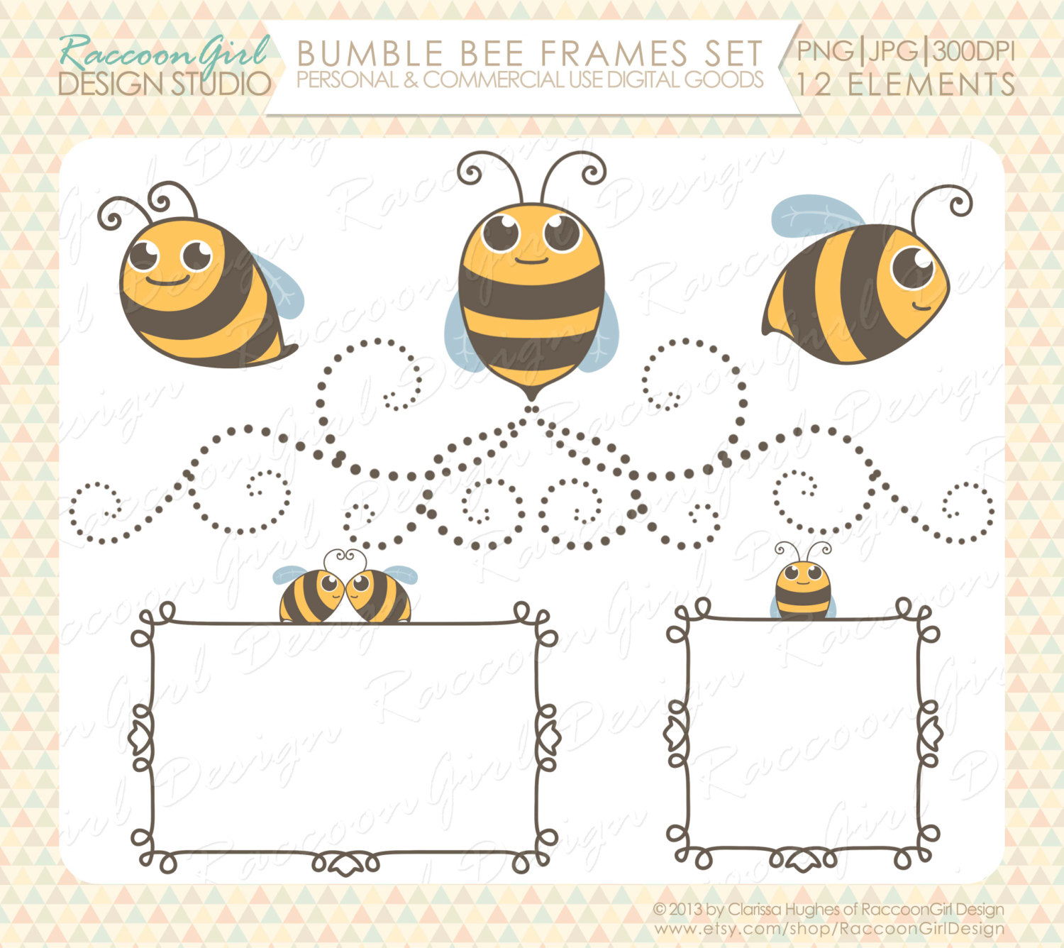 Bees clipart frame Digital item? Bumble Bee Frames