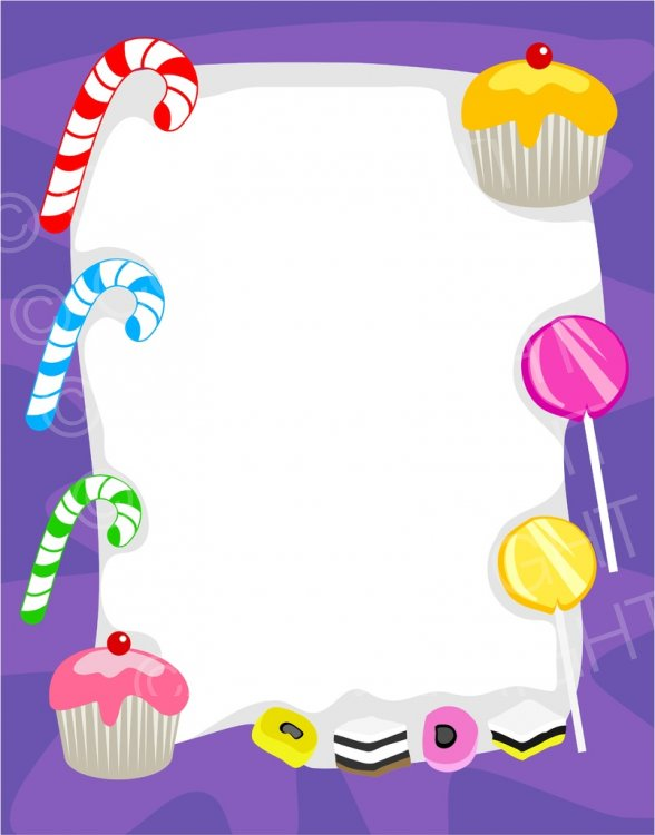 Frame clipart candy Page Sweet  Cupcake Sweet