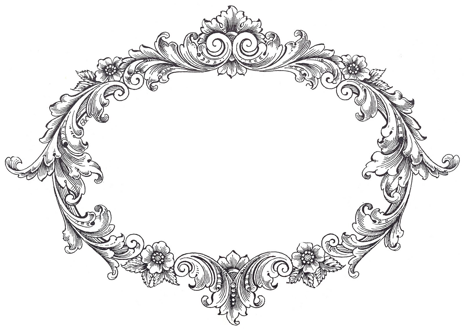 Thorns clipart antique frame Oval Art Graphics Clip Fancy