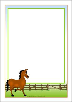 Frame clipart horse Page Horse themed preschool boerderij