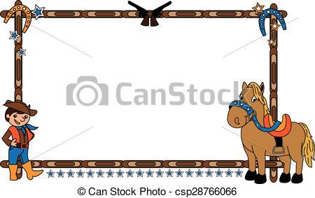 Frame clipart horse  Clip Frame cowboy of