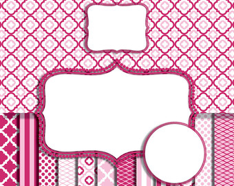 Frame clipart hot pink Chevron baby digital Pink frame
