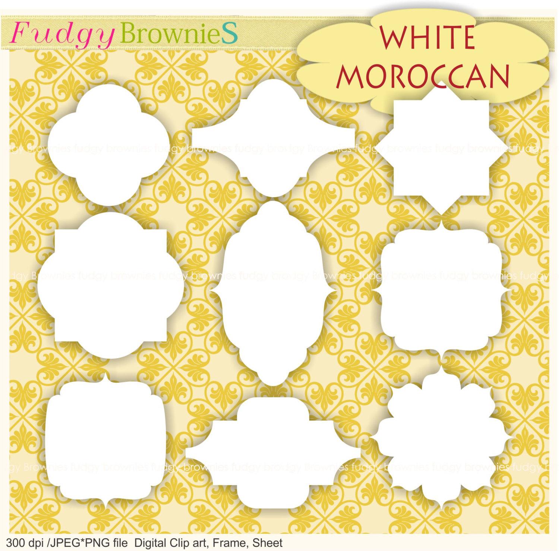 Frame clipart moroccan Digital clipart frames white digital