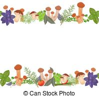 Frame clipart mushroom Border and leaves mushrooms of