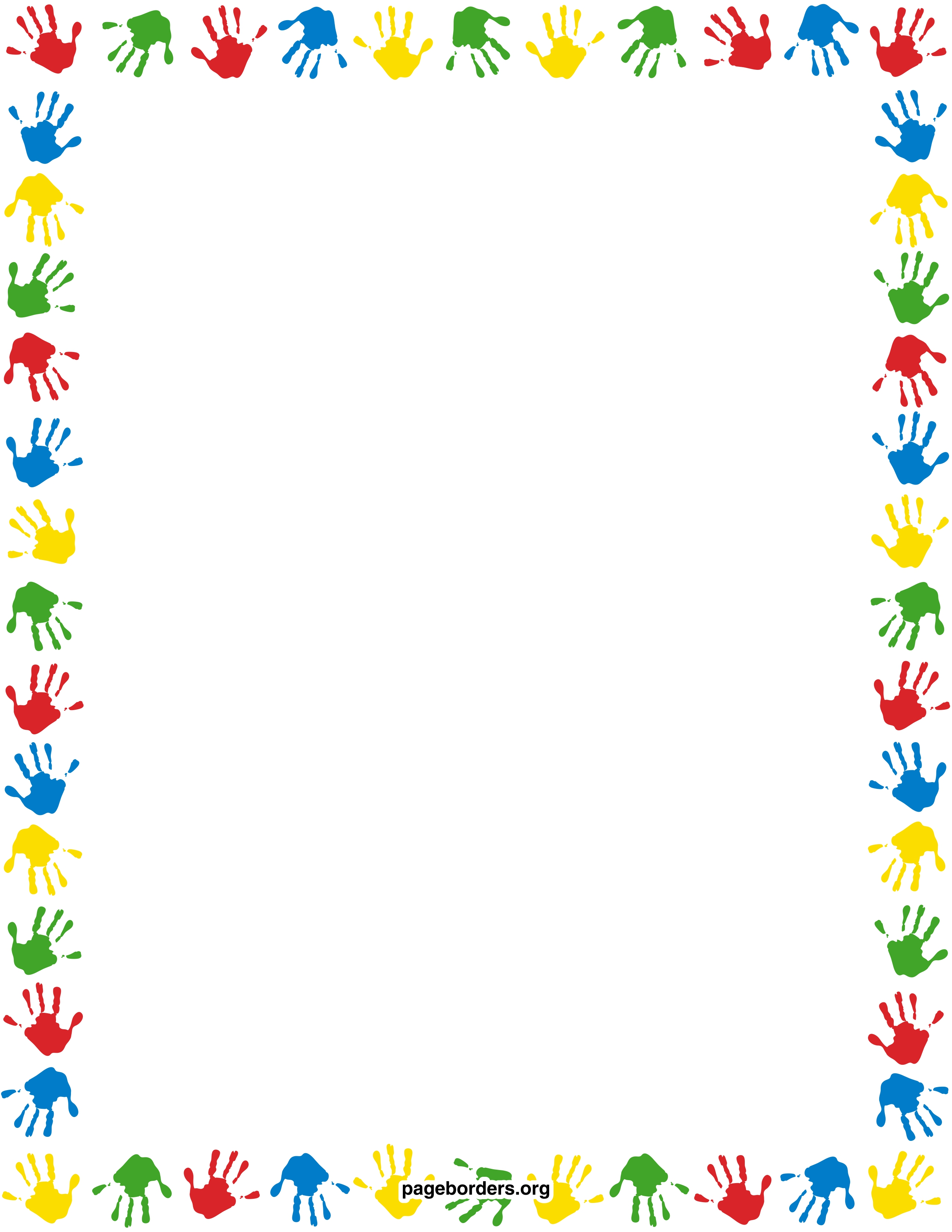 Handprint clipart border Watermarked and border handprint PDF